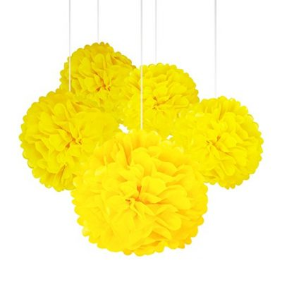 Yellow Color Tissue Paper Pom Poms Flower Balls