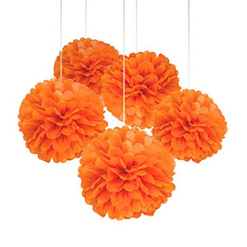 orange paper pom poms